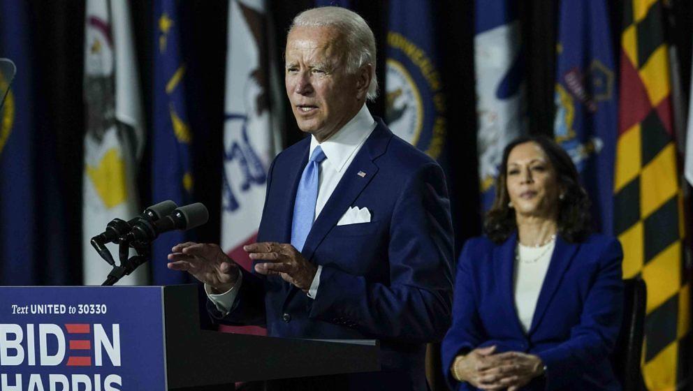 Joe Biden und Kamala Harris auf einer Wahlkampfveranstaltung am 12. August 2020