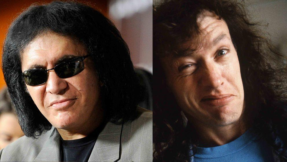 Kiss-Bassist Gene Simmons und AC/DC-Gitarrist Angus Young