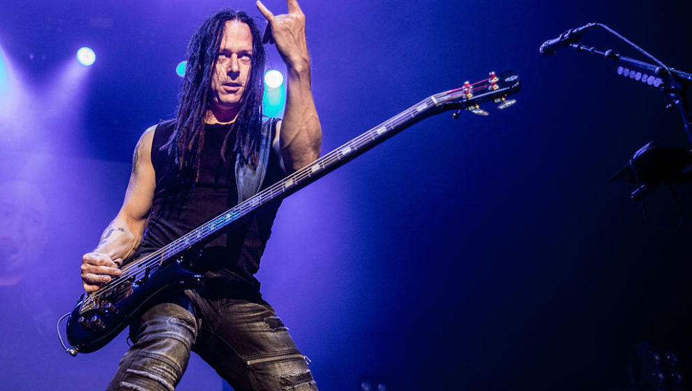 American alternative heavy metal band Disturbed with John Moyer on bass performs at Afas Live, Amsterdam, Netherlands, 7th Ma
