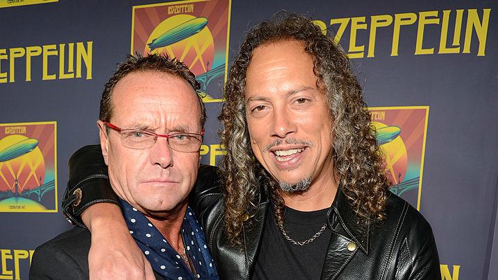 NEW YORK, NY - OCTOBER 09:  Ross Halfin and Kirk Hammett attend the premiere of  'Led Zeppelin:  Celebration Day' at Ziegfeld