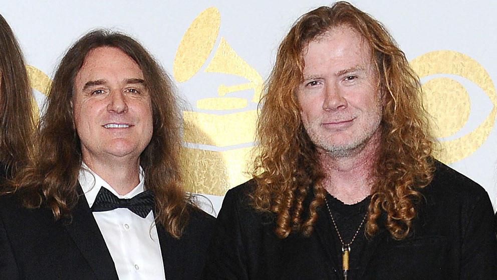 Dave Ellefson (l.) und Dave Mustaine mit Megadeth im Jahr 2017 bei den Grammy Awards